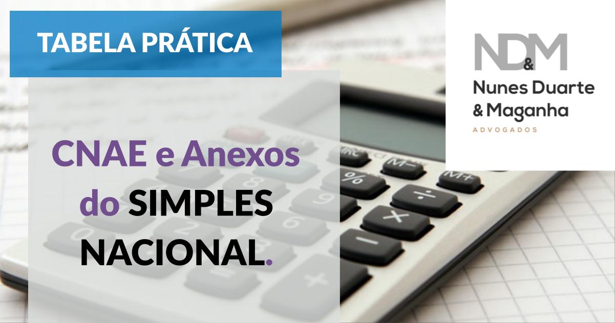 [Tabela Prática] CNAE e Anexos do Simples Nacional
